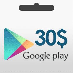 گیفت کارت 30 دلاری گوگل