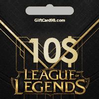 خرید گیفت کارت   گیفت کارت 10 دلاری League Of Legends