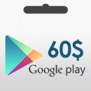 گیفت کارت گوگل پلی 60 دلار آمریکا | گيفت کارت گوگل پلي استور